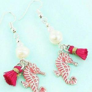 New Seahorses Earrings w Pink Tassels!